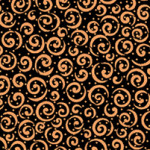 PRINTED COTTON - METALS RANGE - BLACK WITH COPPER SWIRLS