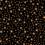 PRINTED COTTON - METALS RANGE - BLACK WITH COPPER STARS