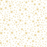 PRINTED COTTON - METALS RANGE - WHITE WITH GOLD STARS