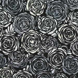 PRINTED COTTON - CANDIED ROSES - RADIANT PLATINUM - PRECIOUSE METALS RANGE - 3513